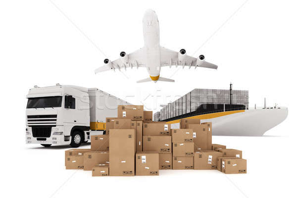 Stock photo: Shipping by sky sea and road