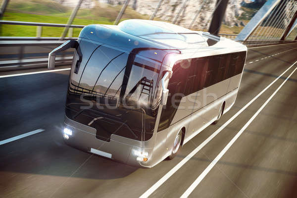 Realistic image of grey bus on the road. Business Travel Concept. Road bridge 3D rendering Stock photo © alphaspirit