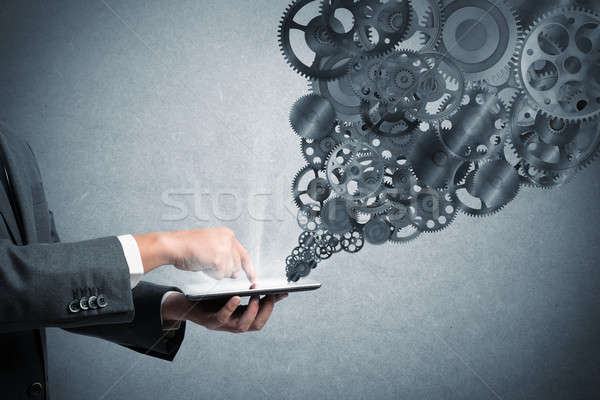 Mechanisme business web zakenman touch tablet Stockfoto © alphaspirit
