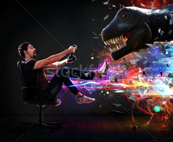 Világ férfi botkormány videojátékok dinoszaurusz számítógép Stock fotó © alphaspirit