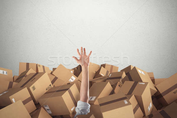 Man buried by a stack  of cardboard boxes. 3D Rendering Stock photo © alphaspirit