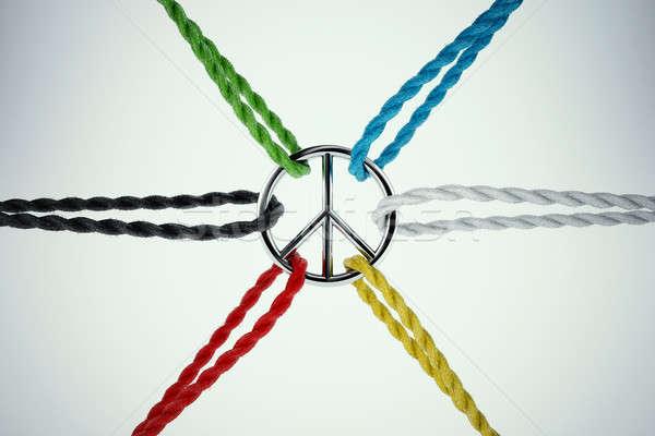 3D paz cordas símbolo amor Foto stock © alphaspirit