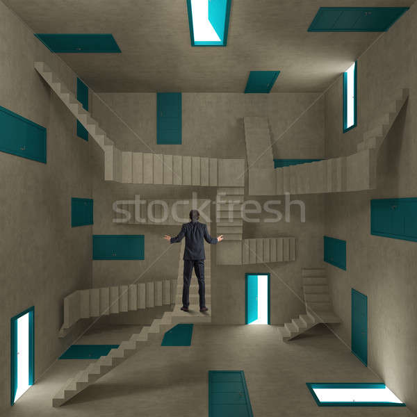 Confused businessman in a room full of doors and stairs Stock photo © alphaspirit