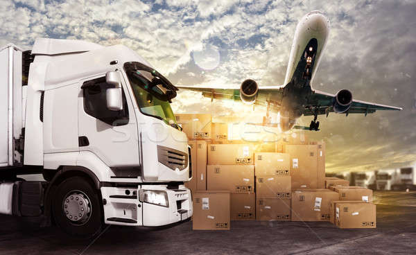 Truck and aircraft ready to start to deliver Stock photo © alphaspirit