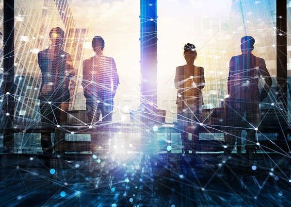 Group of business partner looking for the future with network digital effect Stock photo © alphaspirit