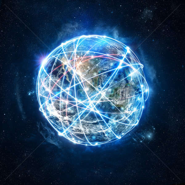 Concept of global internet connection network . World provided by Nasa Stock photo © alphaspirit