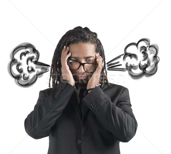 Businessman brain in smoke Stock photo © alphaspirit