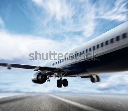 Aircraft travel during night over the city Stock photo © alphaspirit