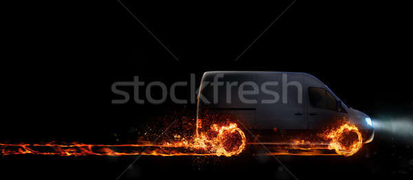 Super fast delivery of package service with van with wheels on fire. 3D Rendering Stock photo © alphaspirit