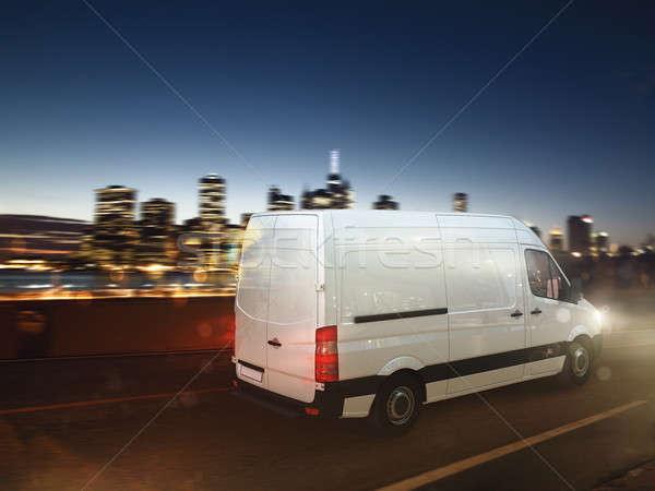 Stock fotó: Gyors · furgon · város · út · éjszaka · 3D