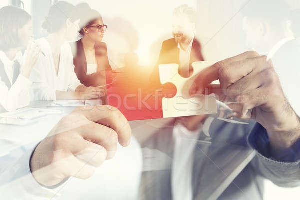 Foto stock: Trabajo · en · equipo · socios · integración · inicio · piezas · del · rompecabezas · doble