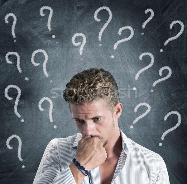 Frage Junge voll Business Geschäftsmann helfen Stock foto © alphaspirit