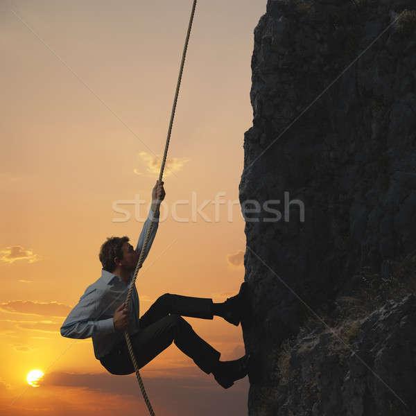 ビジネスマン 山 男 ビジネスマン 岩 石 ストックフォト © alphaspirit