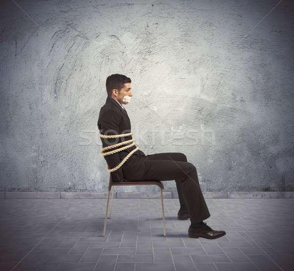 Uwięzione biznesmen krzesło liny działalności ceny Zdjęcia stock © alphaspirit