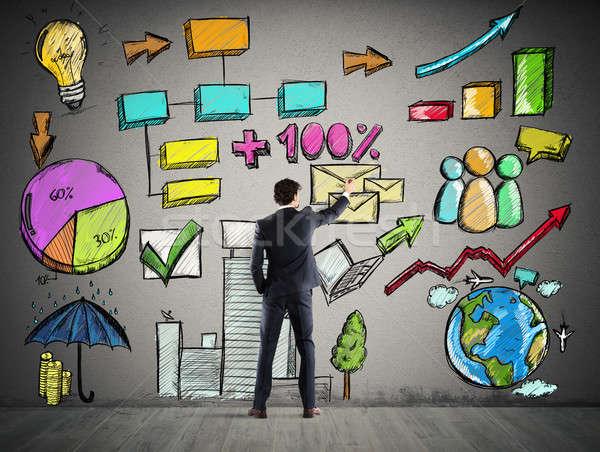 Proyecto análisis de negocio empresario plan hombre red Foto stock © alphaspirit