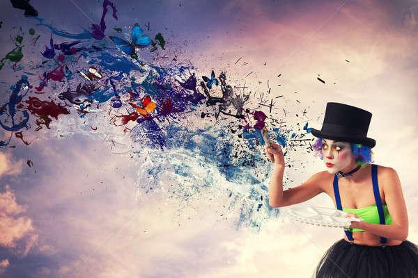 Pintor payaso cielo colorido Splash efecto Foto stock © alphaspirit