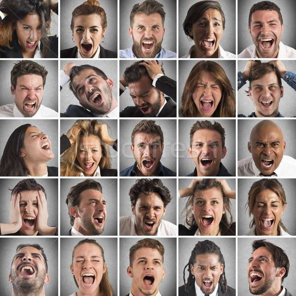 Scream collage of people Stock photo © alphaspirit