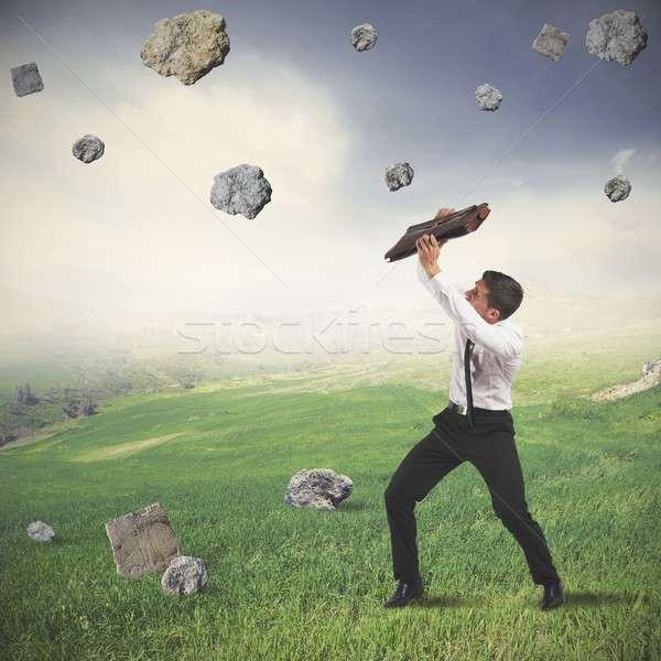 Onderdak storm crisis zakenman business werk Stockfoto © alphaspirit