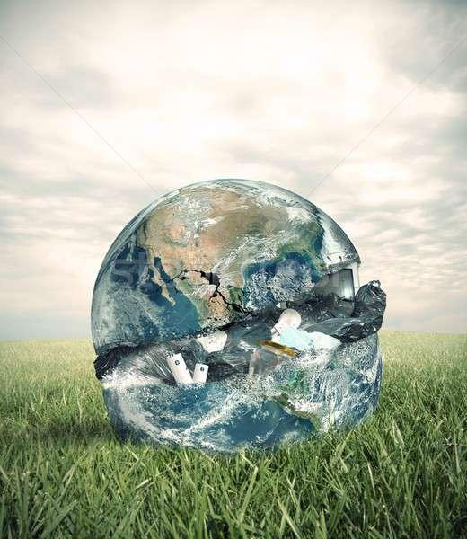 Garbage mondo verde campo parola erba Foto d'archivio © alphaspirit
