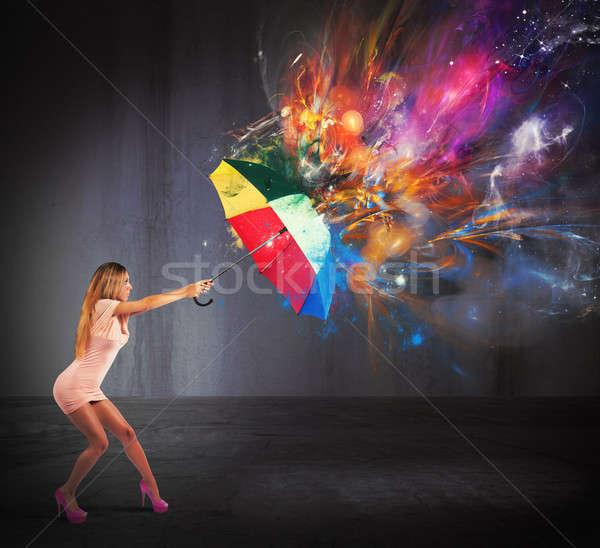 Cores explosão mulher sexy moda luz Foto stock © alphaspirit