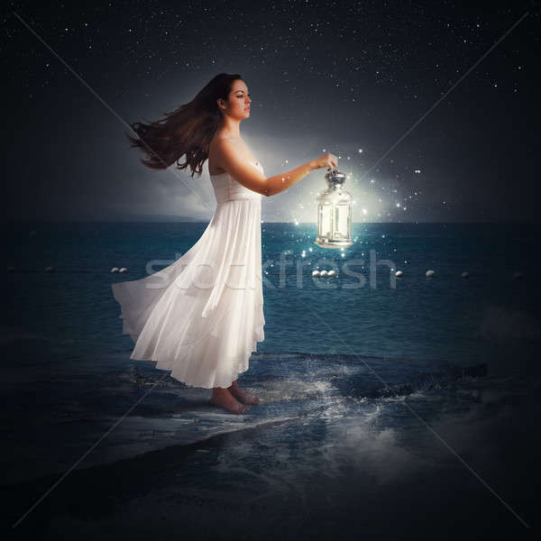 Mágikus éjszaka nő lámpás természet fény Stock fotó © alphaspirit