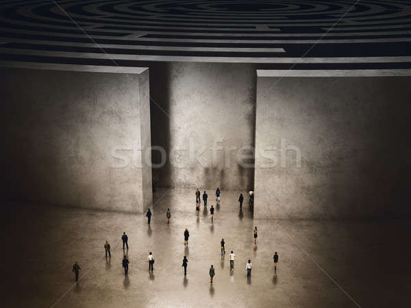 Entrance of complicated maze. 3D Rendering Stock photo © alphaspirit