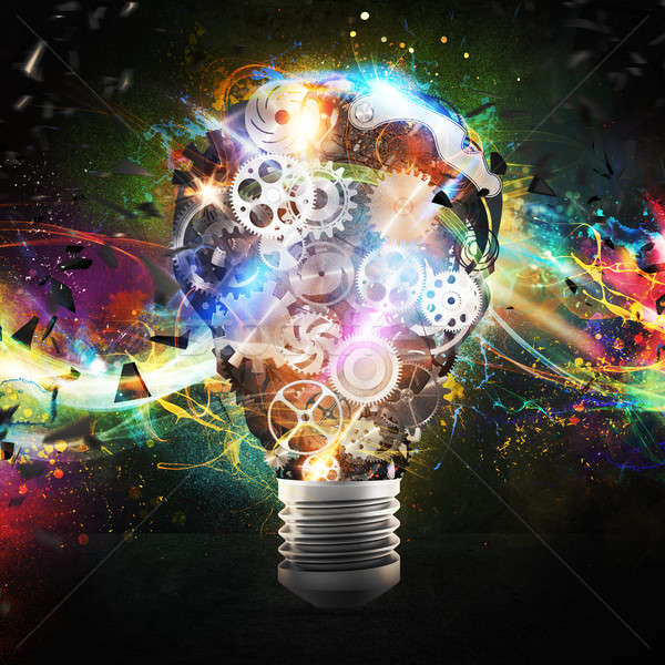 Mechanism gears lighting lightbulb. 3d rendering Stock photo © alphaspirit
