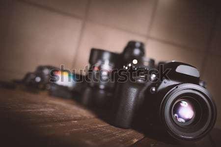 Professionele reflex camera houten scherm tech Stockfoto © alphaspirit