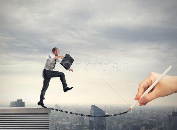 Segítség üzlet karrier üzletember kéz kötél Stock fotó © alphaspirit