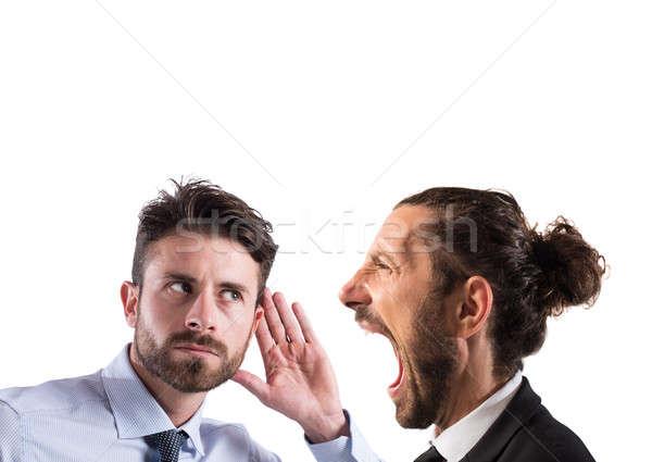 Business aankondiging man ander luisteren Stockfoto © alphaspirit
