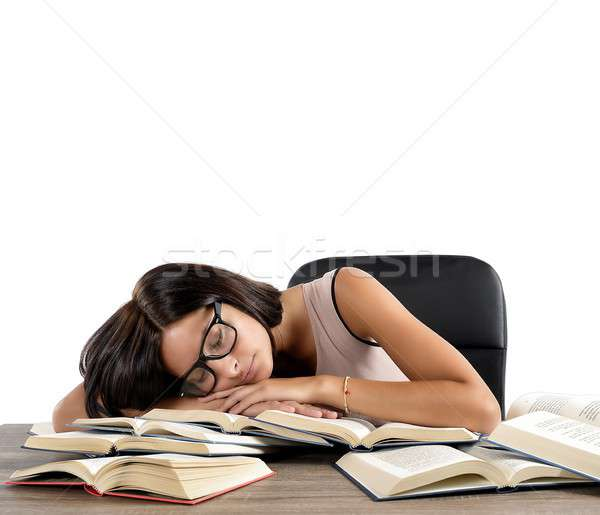 спать книгах женщину устал изучения спальный Сток-фото © alphaspirit
