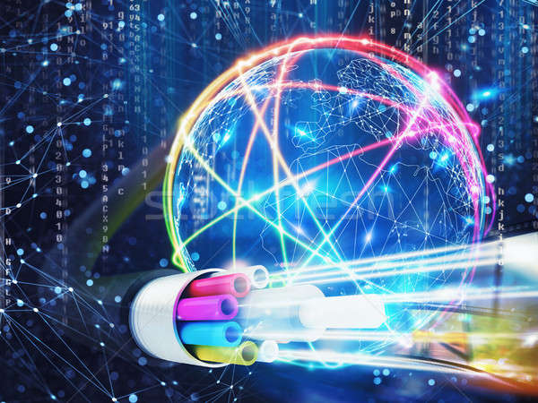 Stock photo: Image of an optical fiber with lights effects. 3D Rendering