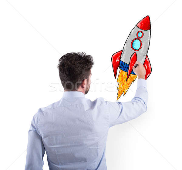 Biznesmen rysunek rakietowe działalności poprawa przedsiębiorstwo Zdjęcia stock © alphaspirit