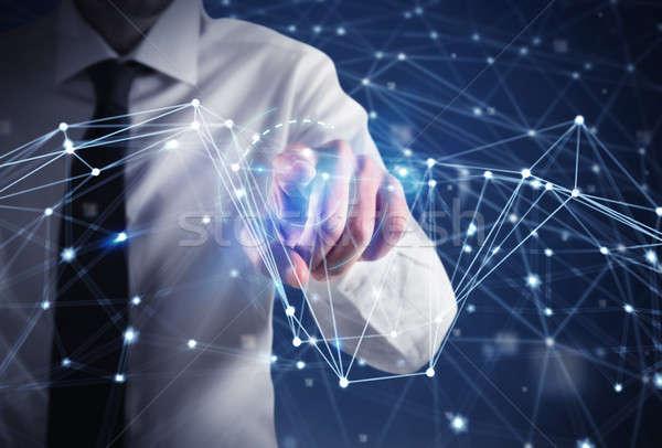 ビジネスマン 未来的な インターネット インターフェース ネットワーク ビジネス ストックフォト © alphaspirit