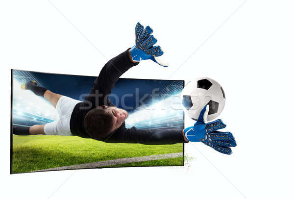 Realism of sporting images broadcast on tv Stock photo © alphaspirit