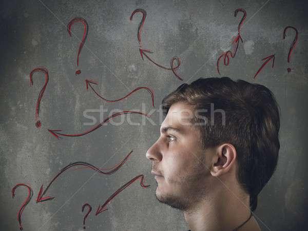 Dubbi domande uomo molti faccia lavoro Foto d'archivio © alphaspirit