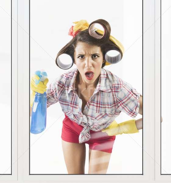 Astonished housewife Stock photo © alphaspirit