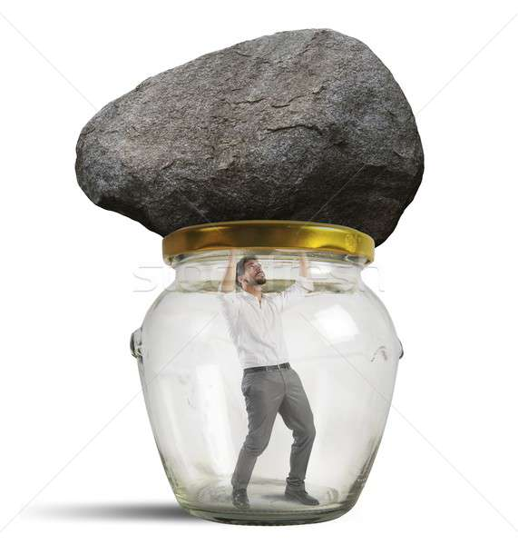 Homme piégé jar Rock verre pierre Photo stock © alphaspirit