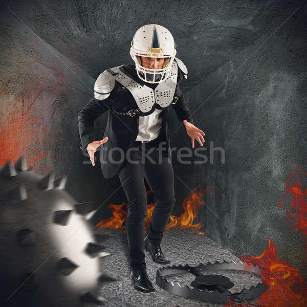 勇敢な ビジネスマン 鎧 火災 ビジネス ストックフォト © alphaspirit