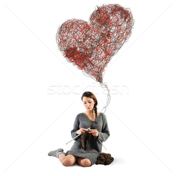 швейных любви женщину вязанье большой сердце Сток-фото © alphaspirit