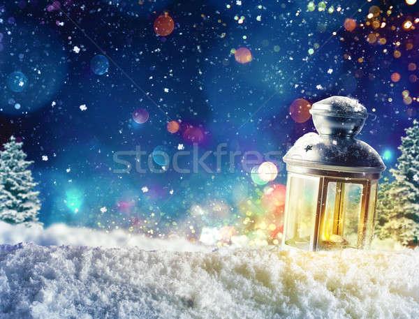 Karácsony lámpás fény dekoráció hó fa Stock fotó © alphaspirit