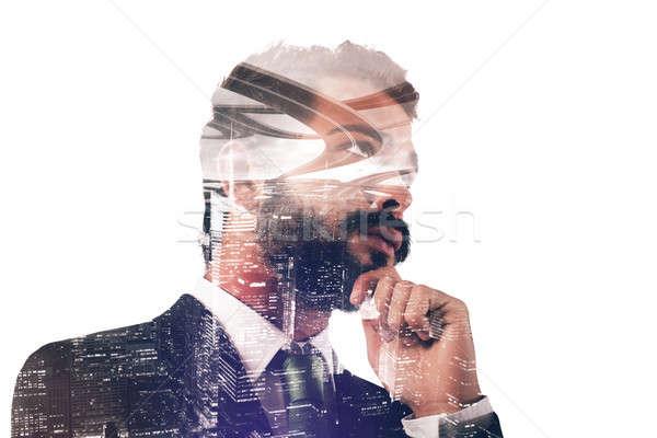 Businessman thinks new strategies Stock photo © alphaspirit