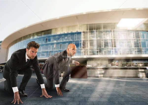 Imprenditori pronto inizio concorrenza sfidare business Foto d'archivio © alphaspirit