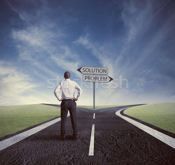 Elegir corregir manera carretera hombre empresario Foto stock © alphaspirit