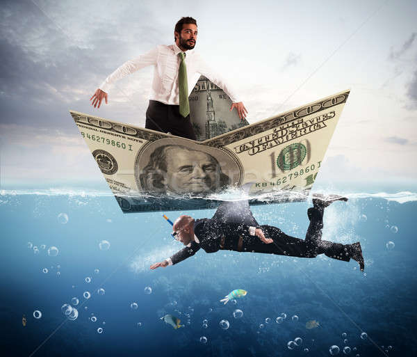 Félelem üzlet cápák üzletember ijedt csónak Stock fotó © alphaspirit