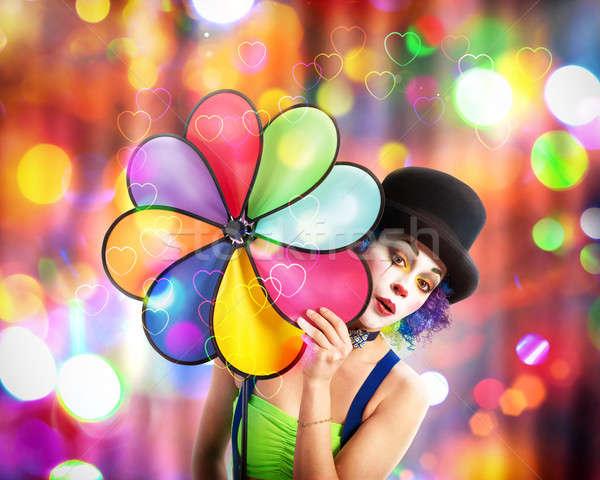 Strony clown uśmiechnięty hat kolorowy światła Zdjęcia stock © alphaspirit