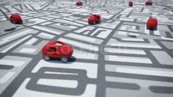 3D Rendering cars toy on street map Stock photo © alphaspirit