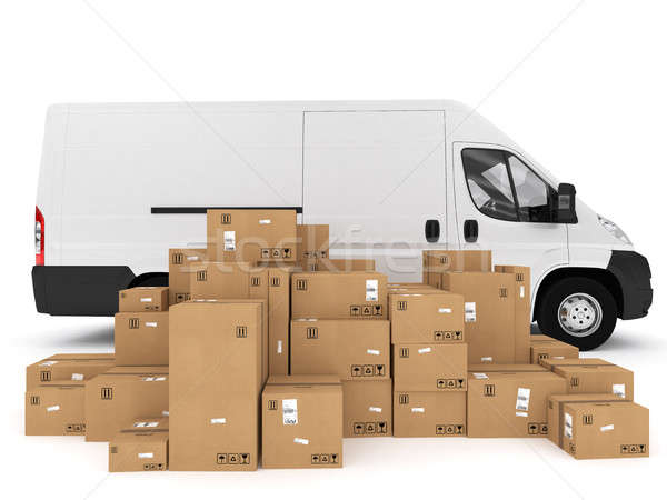 Shipping with truck. 3D Rendering Stock photo © alphaspirit