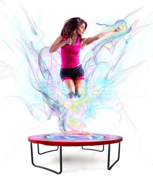Macht springen fitness leraar trampoline kleur Stockfoto © alphaspirit