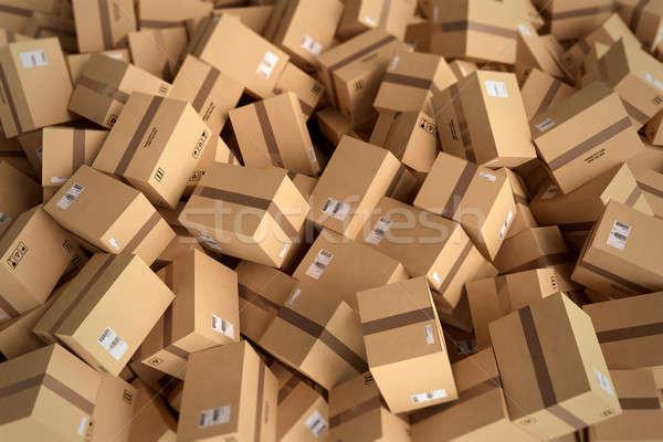 Boglya zárva karton dobozok 3D renderelt kép Stock fotó © alphaspirit